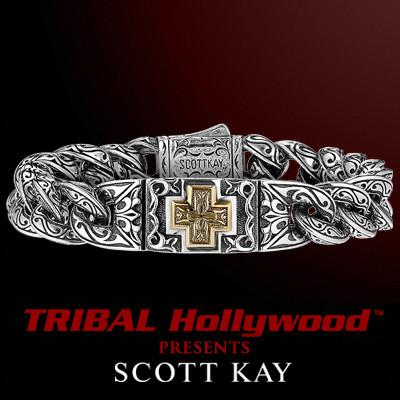 A GOLD CROSS UnKaged Sterling Silver Bracelet by Scott Kay Mens Jewelry | Tribal Hollywood