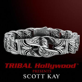 GUARDIAN Sparta Engraved Scott Kay Mens Sterling Silver Bracelet