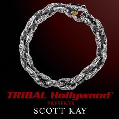 ANCHOR LINK SPARTA Small Engraved Bracelet by Scott Kay Mens Sterling Silver