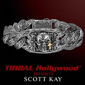 Scott Kay TEARS OF JOY SKULL Silver Mens Bracelet with 18K Gold Cross