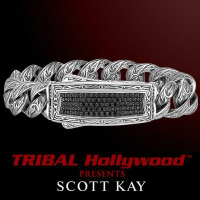 BLACK SAPPHIRE ID Tag Mens Sterling Silver Bracelet by Scott Kay