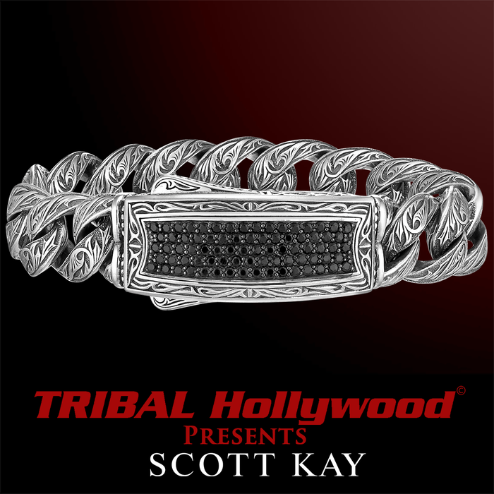 Scott Kay BLACK SAPPHIRE ID Tag Mens Bracelet in Sterling Silver
