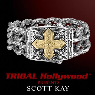 Scott Kay LARGE 18K GOLD CROSS Wide Silver Double Chain Mens Bracelet