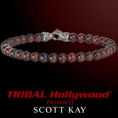 Scott Kay RED TIGERS EYE BEAD BRACELET