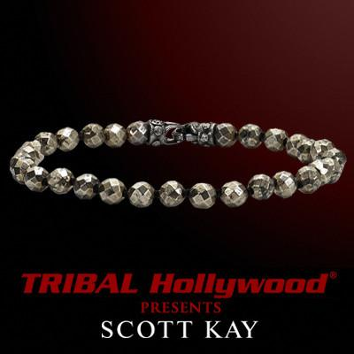 Scott Kay PYRITE BEAD BRACELET with Ruthenium clasp