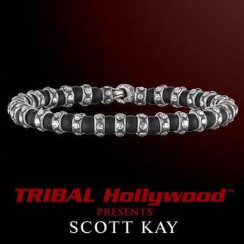RIVETED SILVER BAND ALTERNATING Black Onyx Bead Bracelet by Scott Kay Mens Sterling Silver