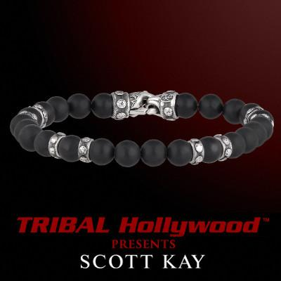 RIVETED STERLING SILVER and Black Onyx Mens Bead Bracelet by Scott Kay