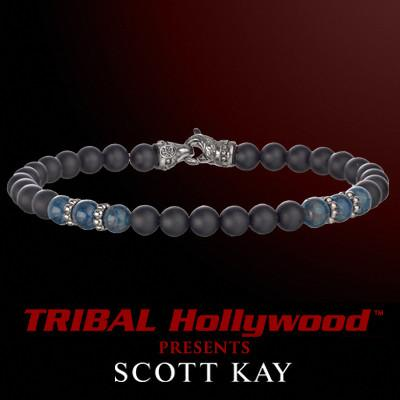 BLACK ONYX AND BLUE APATITE Beaded Bracelet by Scott Kay