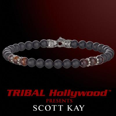 BLACK ONYX AND RED TIGERS EYE Beaded Bracelet by Scott Kay
