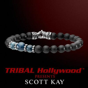 BLACK ONYX WITH BLUE APATITE CLUSTER Bead Bracelet by Scott Kay