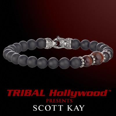 BLACK ONYX WITH RED TIGERS EYE CLUSTER Bead Bracelet by Scott Kay