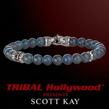 BLUE APATITE WITH AGED SILVER Bead Bracelet by Scott Kay | Tribal Hollywood