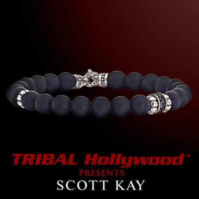 BLACK ONYX WITH AGED SILVER Bead Bracelet by Scott Kay