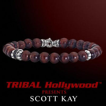 A RED TIGERS EYE WITH AGED SILVER Bead Bracelet by Scott Kay