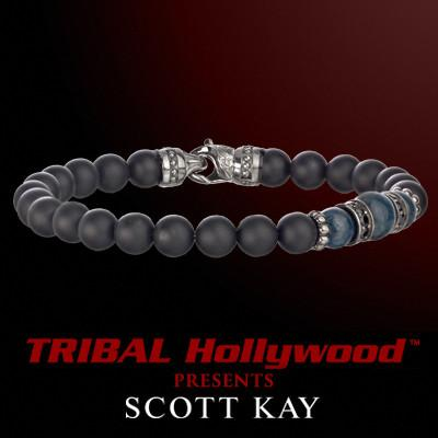 BLACK ONYX WITH BLUE APATITE AND AGED SILVER CLUSTER Bead Bracelet by Scott Kay