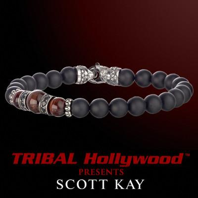 BLACK ONYX WITH RED TIGERS EYE AND AGED SILVER CLUSTER Bead Bracelet by Scott Kay