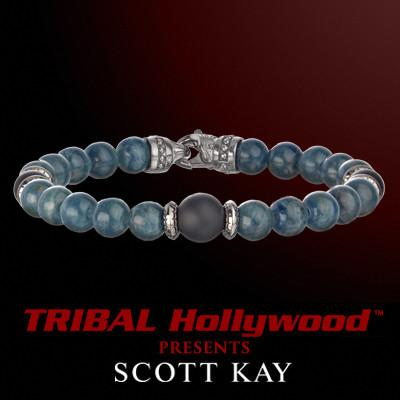 BLUE APATITE WITH BLACK ONYX Bead Bracelet by Scott Kay | Tribal Hollywood