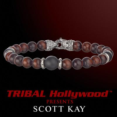 RED TIGERS EYE WITH BLACK ONYX Bead Bracelet by Scott Kay