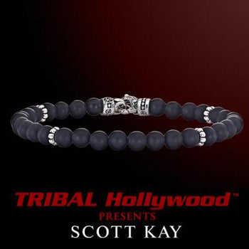 BLACK ONYX Thin Width Beaded Bracelet by Scott Kay