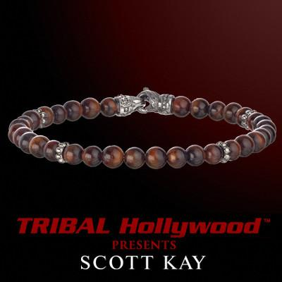 RED TIGERS EYE Thin Width Beaded Bracelet by Scott Kay