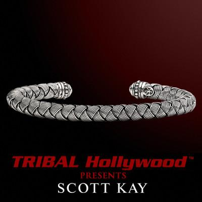 WOVEN SILVER Mens Sterling Cuff Bracelet by Scott Kay
