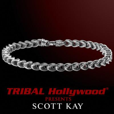 SCALLOP LINK Medium Width Sterling Silver Mens Bracelet by Scott Kay