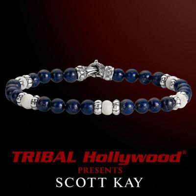 BLUE LAPIS WITH WHITE BONE Bead Bracelet by Scott Kay