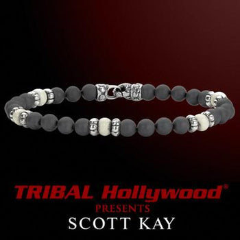 HEMATITE WITH WHITE BONE Bead Bracelet by Designer Scott Kay