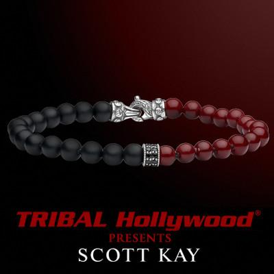 Scott Kay DUAL BEAD Black Onyx and Red Shell Pearl Mens Bead Bracelet