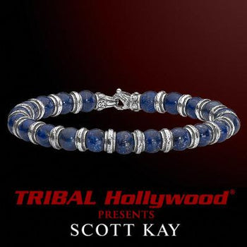 ALTERNATING BEAD Blue Lapis and Sterling Silver Bead Bracelet for Men by Scott Kay