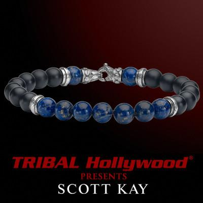 SEGMENTED BEAD Black Onyx Blue Lapis Scott Kay Mens Bead Bracelet