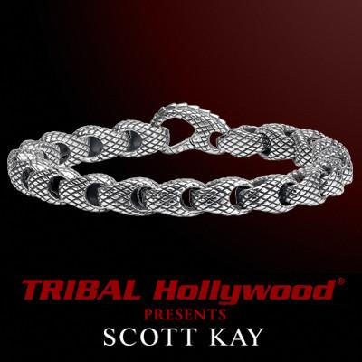PYTHON Sterling Silver Snake Scale Link Bracelet for Men by Scott Kay