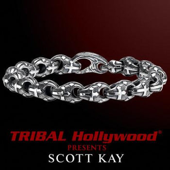 PASSION CROSS LINK Mens Sterling Silver Scott Kay Bracelet
