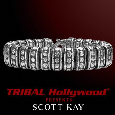 Scott Kay SAMURAI LEATHER AND SILVER RIVET Thick Width Mens Bracelet
