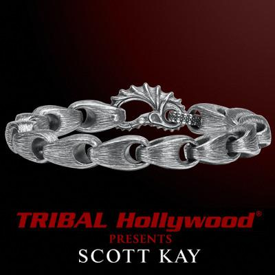 BRUSHED SILVER SAMURAI LINK Medium Mens Scott Kay Bracelet