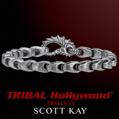 BRUSHED SILVER SAMURAI LINK Thin Mens Scott Kay Bracelet