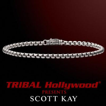 ROUNDED BOX LINK BRACELET for Men in Sterling Silver by Scott Kay