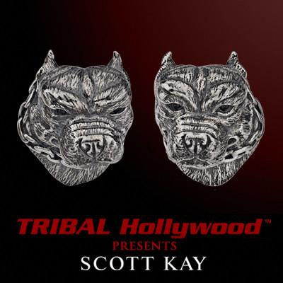 PIT BULL Cufflinks in Sterling Silver by Scott Kay