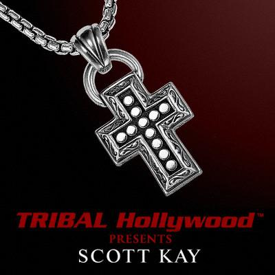 UnKaged RIVETED SILVER CROSS Scott Kay Mens Sterling Silver Necklace