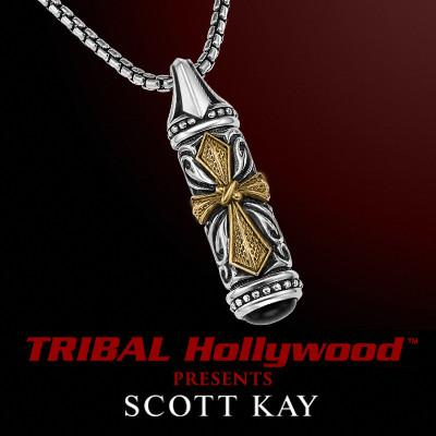 CROSS TABLET UnKaged Two-Tone Sterling Silver Mens Necklace with Brass and Onyx by Scott Kay