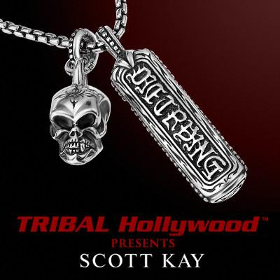 UnKaged DIE TRYING TAG with SKULL Scott Kay Sterling Silver Necklace