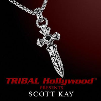Scott Kay DAGGER CROSS Onyx Center Mens Sterling Silver Necklace