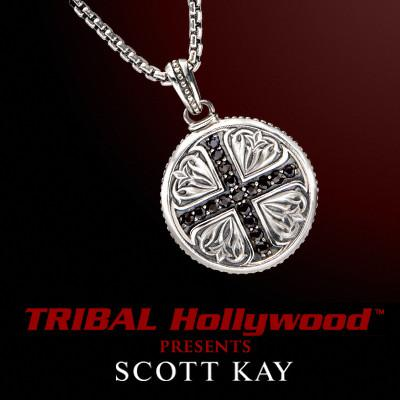 Scott Kay CRUSADES BLACK SAPPHIRE CROSS Medallion Mens Cross Necklace