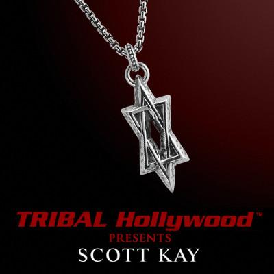 Scott Kay STAR OF DAVID HAMMERED SILVER Men's Sterling Chain Necklace
