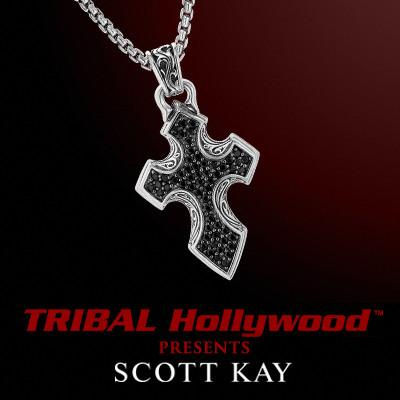 BLACK SAPPHIRE CROSS Mens Necklace by Scott Kay