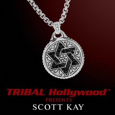 BLACK SAPPHIRE STAR OF DAVID Medallion Necklace in Sterling Silver by Scott Kay