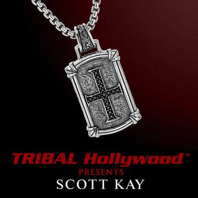 BLACK SAPPHIRE CROSS DOG TAG Sterling Silver Chain Necklace by Scott Kay