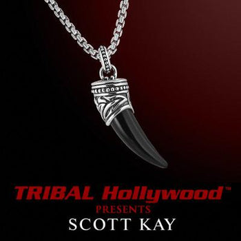SILVER & BLACK ONYX HORN Necklace by Scott Kay Men's Sterling Silver