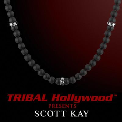 Scott Kay BLACK ONYX BEAD Men's Necklace with Sterling Silver Bands