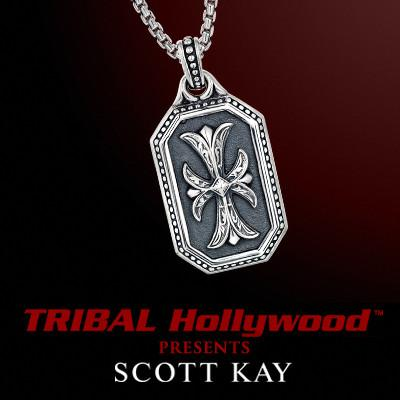 ROYAL MILITARY CROSS DOG TAG Sterling Silver Pendant Necklace by Scott Kay